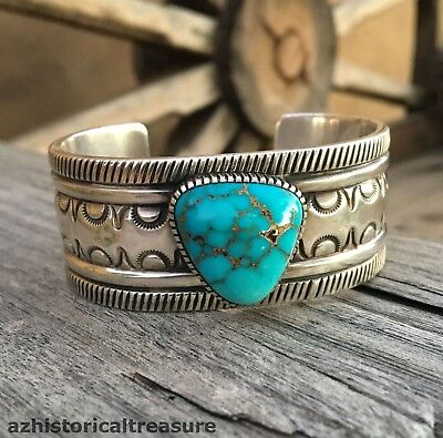 NATIVE AMERICAN NAVAJO STERLING SILVER & TURQUOISE CUFF BRACELET by THOMAS JIM