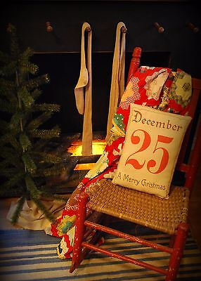 Antique December 25th Christmas Pillow sign Victorian primitive A merry gift