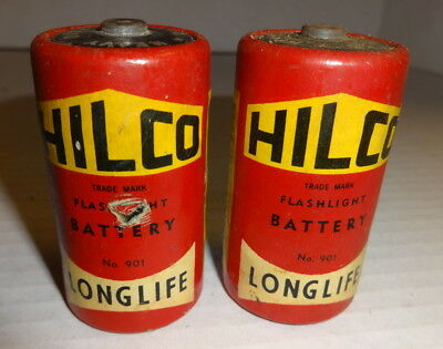 2 Vintage Hilco D Cell Batteries - Paper wrapped