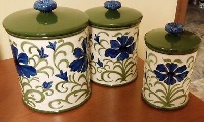 Metlox California Ceramic Canisters -Blue Floral w/Green Lids-Set of 3