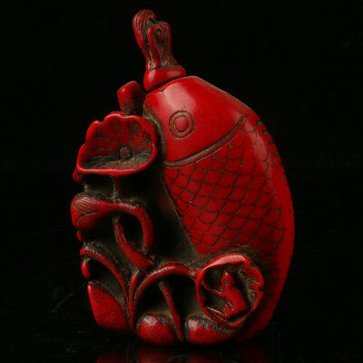 China Exquisite Red Coral Hand Carved Fish & Lotus Snuff Bottle MH006