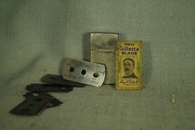 vintage old Gillette metal safety razor Blade holder with assortment of blades.