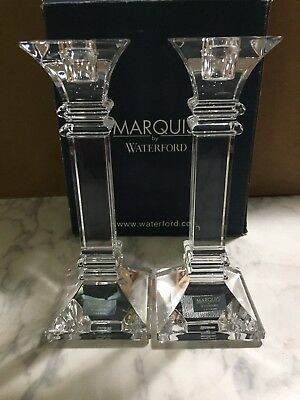Waterford Crystal Treviso 8 Inch Pair Candlesticks Nwt (Marquis By Waterford)