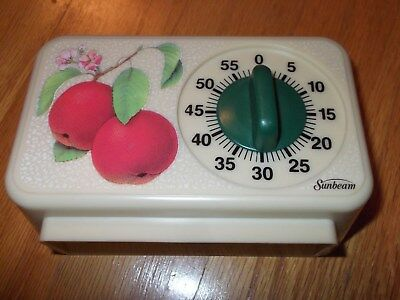 Sunbeam Kitchen Timer Vintage wtih Fruit Peaches or Apples