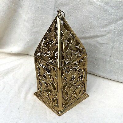 """10"""" Collectible Solid Brass Lantern Candle Holder Hummingbird Filigree Lacquered"""