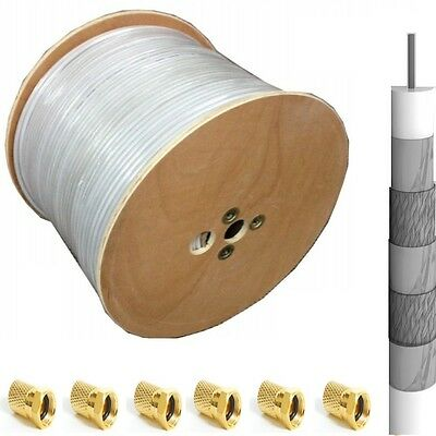 40x 7mm V+G F-Plug] 500m Copper 135db 5fach Sat Cable Coaxial Cable Koax Tv