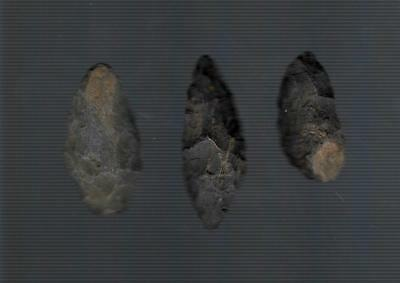 Rare 3 Flint Arrowheads from Synder, Union or Northumberland Counties in Penna.