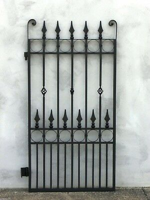 FRENCH STYLE PEDESTRIAN SIDE GATE BLACK WROUGHT IRON 1530X840mm Bargain