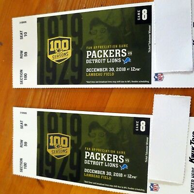 Green Bay Packers vs. Detroit Lions 12-30-18  -  2 tickets