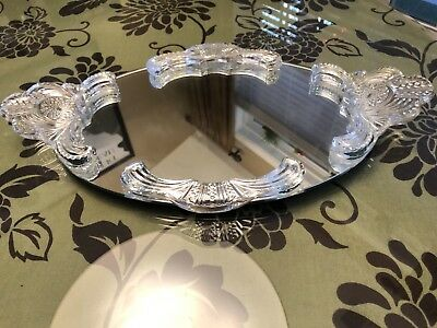 """Vanity Mirror Tray Glass Crystal  Handles Footed Heavy 18"""" Long 10 3/8"""" Wide"""