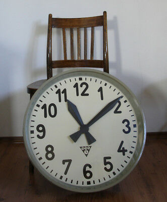 Very Large Vintage Metal Industrial PRAGOTRON Clock Factory 55cm