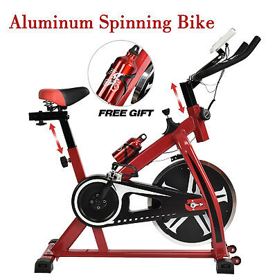 Aluminum Stationary Exercise Spinning Bike Bicycle Cardio Workout Fitness Red