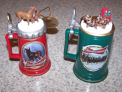 Bradford Exchange Budweiser Clydesdales Beer Stein Holiday Christmas Ornaments