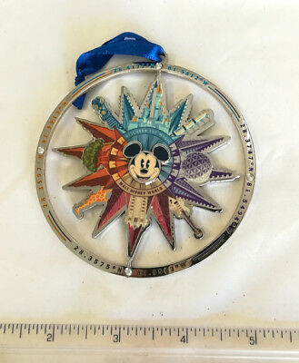 WALT DISNEY WORLD PARKS Icons Mickey Mouse 2018 Holiday Christmas Ornament Metal