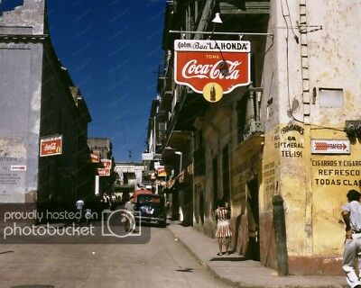 Coca-Cola Signs P-Rico Streets 1940s Classic 8 by 10 Reprint Photograph