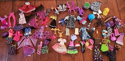 Huge Monster High/Ever After High Lot Of Clothing and Accessories 74 Pieces