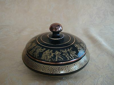 Vintage I. Spyropoulos Greece Hand Painted Cobalt Blue W/ 24 K Gold Trim Box Lid