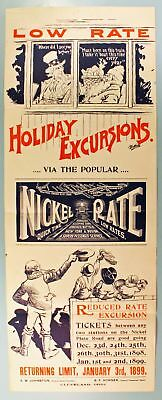Nickel Plate Road 1898 Christmas Holiday Excursions Broadside/poster-Nr