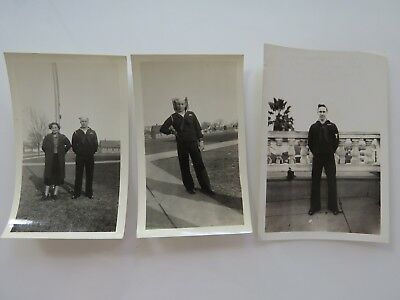 3 WWII Vintage Photographs Lot Soldiers Photos Picture Old Snapshot WW2  #7191