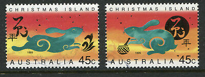 1999 Christmas Island. Chinese New Year. Year of the Rabbit. Full set of 2 USED.