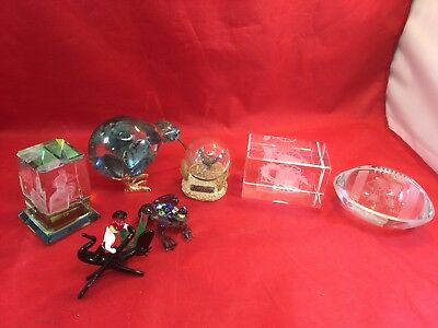 LOT OF 7 VINTAGE  ART GLASS PAPERWEIGHTS & Figurines