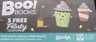 Wendys 2018 frosty Halloween Boo Book 5 Coupons Booklet NEW No Purchase Required