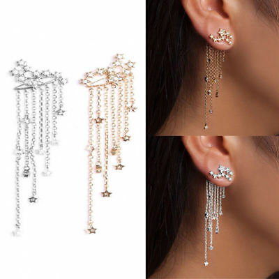 Women Shooting Star Rhinestone Streamlined Tassel Long Dangle Drop Earrings