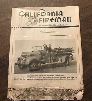Vintage March 1942 The California Fireman Journal Newspaper History Of Ca