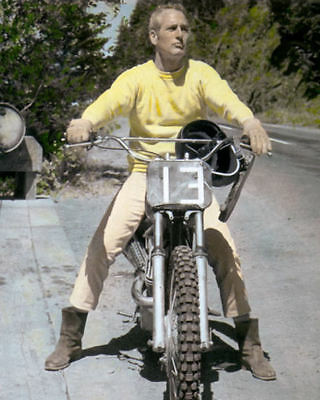 """PAUL NEWMAN HOLLYWOOD ACTOR DIRECTOR MOTORCYCLE 8x10"""" HAND COLOR TINTED PHOTO"""