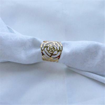 Gold Rose  Iron Napkin Ring Dinner Party Wedding Table Decoration Delicate  FW