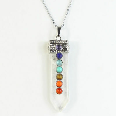 Clear Crystal Sword Shaped Pointed 7 Chakras Pendulum Silver Pendant Necklace