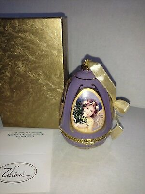 Mr Christmas Valerie Parr Hill Egg Musical Christmas Ornament Trinket Box Angel