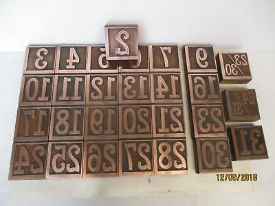 Letterpress printing copper calendar blocks 28 pcs not complete set still nice