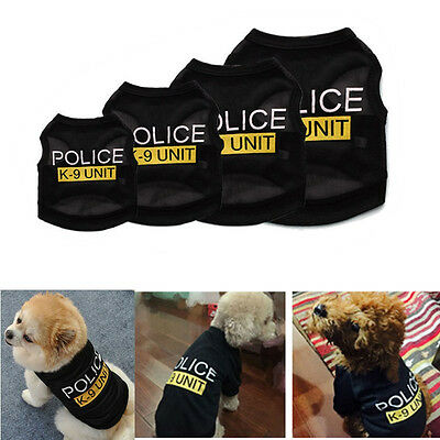 Pet Cat Dog Puppy Vest Police T-Shirt Coat Pet Clothes Summer Apparel Costumes