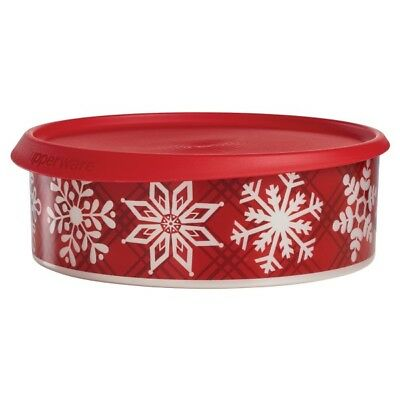 TUPPERWARE Snow Place Like Home Cookie/Treat/Candy/Gift Canister Holiday Red-NEW