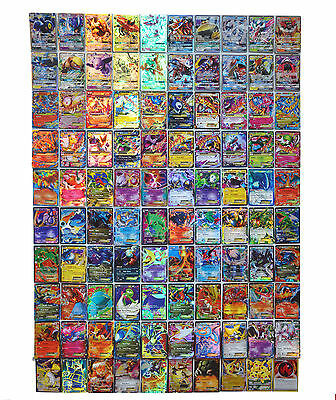 NeW Pokemon TCG :100 FLASH CARD LOT EX+GX+MEGA MIX CARD LOTS GUARANTEED FULL ART