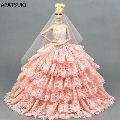 "Pink Lace Wedding Dress for 11.5"" Doll Clothes Princess Evening Party Gown 1/6"