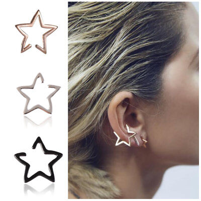 Silver Hollow Star Ear Bone Cuff Clip On Earring Cartilage Upper Closure Gift