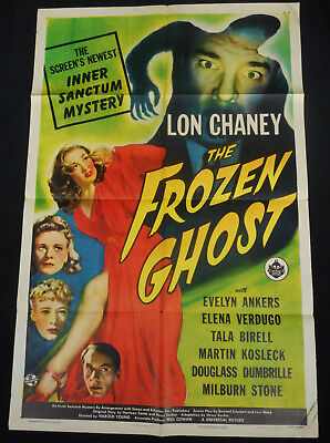 The Frozen Ghost 1945 * Lon Chaney Jr. * Great 40's Universal Horror One Sheet!!