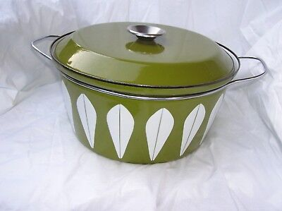 Vintage Catherineholm Norway Avacado Green Lotus Large Dutch Oven Pot 8 Qt