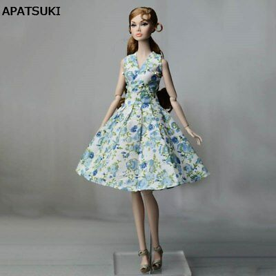 Blue Countryside Floral Dress For Barbie Doll Clothes For Barbie Dolls Outfits