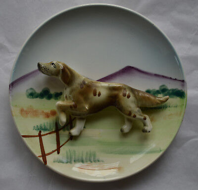 Vintage Pointer Dog 3-D 6 In. Porcelain Collector Plate #52/566 (Free Shipping)