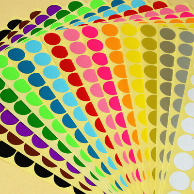 ALL SIZE 16 Colors Dot Stickers Round Adhesive Spot Dots Paper Labels Tool 5PCS