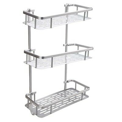 Dorfin 3-Tier Alumimum Corner Shelf Wall Shelves Storage Organizer for Kitchen B
