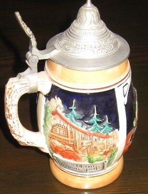 Beer Stein -porcelain and pewter