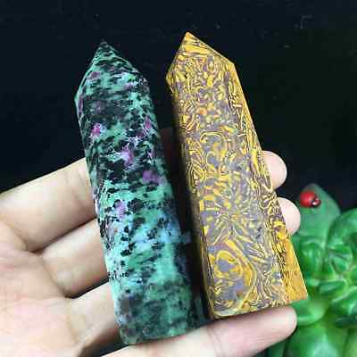 TOP-112g 2pcs Natural Ruby In Zoisite Mariam Jasper Wand Point Healing G1530