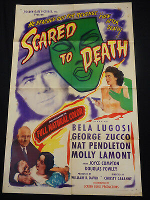 Scared To Death 1947 * Bela Lugosi * Lugosi's Only Color Film * One Sheet * L@@k