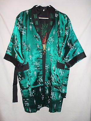 Kimono Robe Jacket Green Asian Pattern Size M Embroidered Collar & Interior