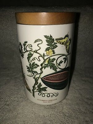 "Portmeirion Botanic Garden Storage Canister Wooden Lid Water Melon 6.5"" Tall"