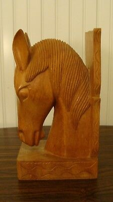"Vintage Wood Carved Horse Head/ Bookend 10"" tall"